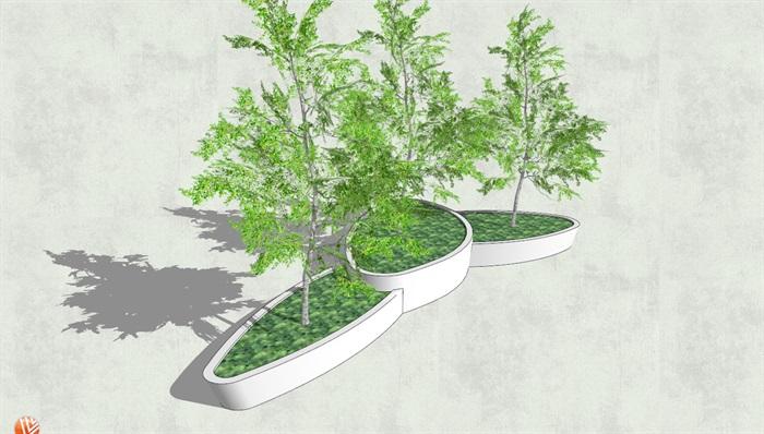 经典详细独特异形树池su模型[原创]
