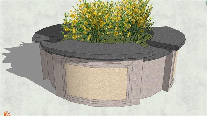 现代风格详细的圆形树池su模型[原创]