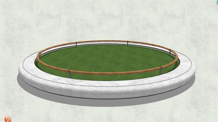 现代简单的圆形树池su模型[原创]