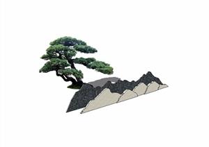 现代景观石头设计SU(草图大师)模型