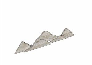 现代风格详细的景石设计SU(草图大师)模型