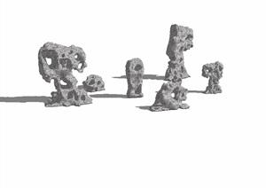 中式景石详细完整素材设计SU(草图大师)模型