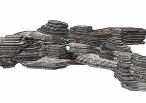 叠石景石素材SU(草图大师)模型