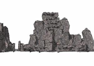 石堆景石素材SU(草图大师)模型
