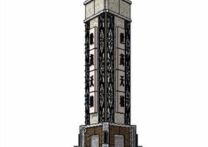 中式标志柱景观柱设计SU(草图大师)模型