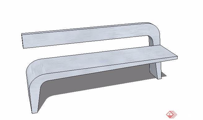 简约石材长椅设计su模型[原创]图片