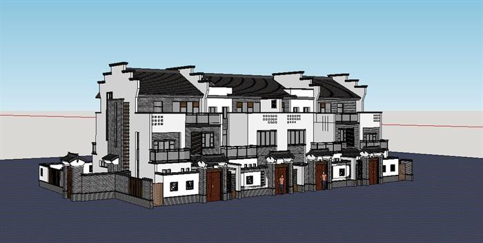 中式联排别墅详细建筑设计su广场[原创]关于书籍景观设计的模型图片