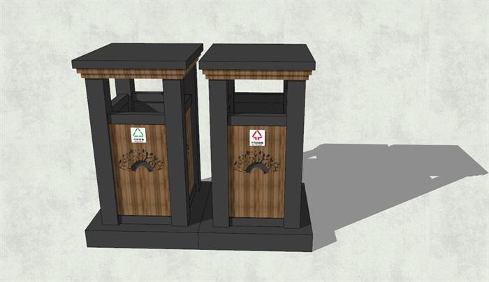 现代风格并排方形分类垃圾箱su模型[原创]