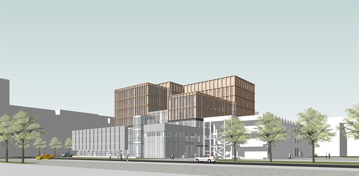 某大学产业教学中心建筑设计su模型[原创]图片