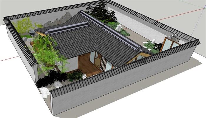 日本茶室小庭院景观设计模型[原创]