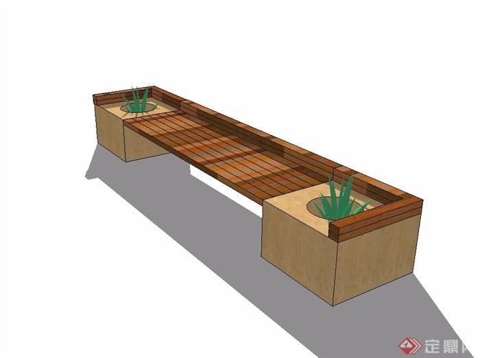 现代风格条形坐凳素材设计su模型[原创]