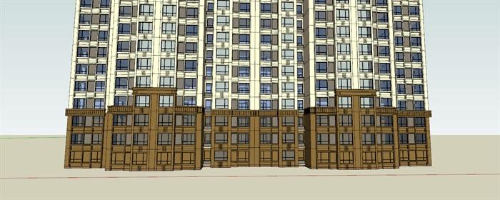 某现代风格详细的住宅高层建筑楼设计su模型