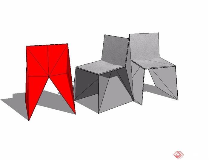 现代简约座椅素材su模型[原创]