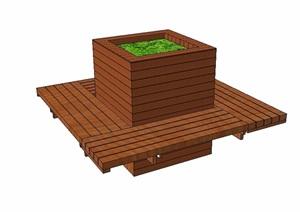 某防腐木种植池座椅设计SU(草图大师)模型