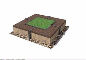 某园林景观树池模型