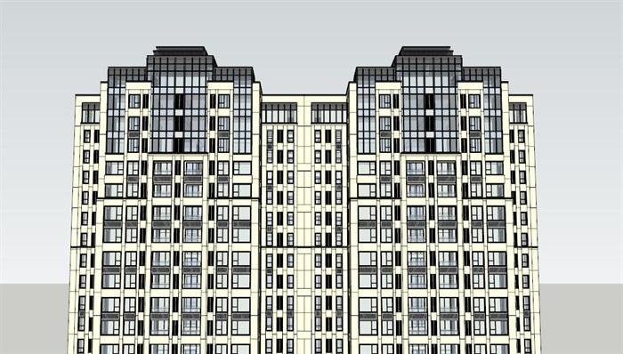 某新古典高层详细的住宅建筑楼su模型[原创]
