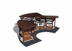 新中式廊架木质设计SU(草图大师)模型