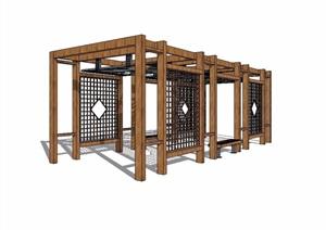 现代中式廊架详细完整SU(草图大师)模型