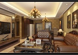 欧式客厅详细设计cad施工方案及3d模型效果图