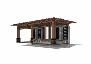 新中式廊架木质素材设计SU(草图大师)模型