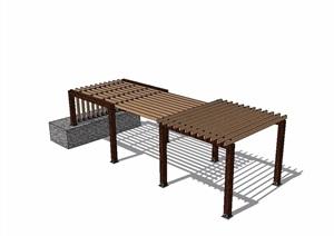 新中式廊架木质素材SU(草图大师)模型