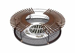 新中式园林廊架素材设计SU(草图大师)模型