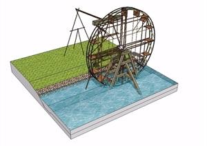 水车小品详细设计SU(草图大师)模型