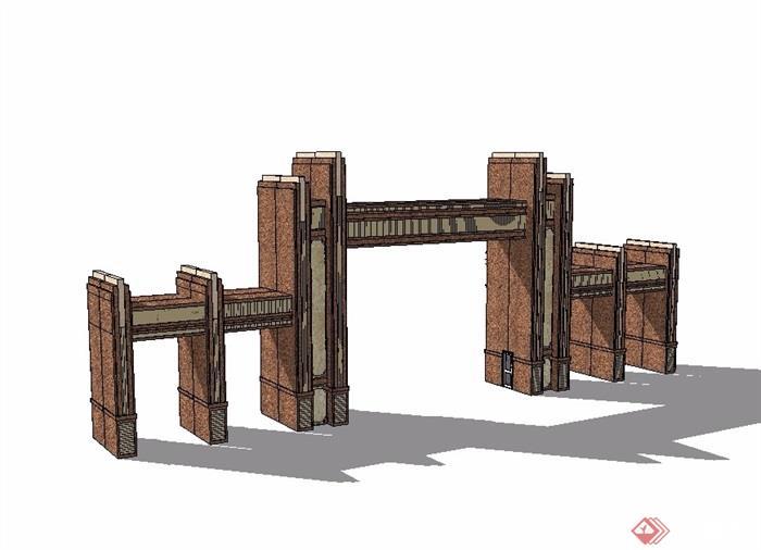 新古典风格大门入口素材设计su模型[原创]