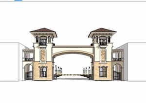 欧式小区大门入口SU(草图大师)模型
