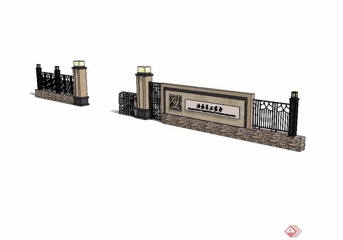 欧式大门小区入口素材设计su模型[原创]