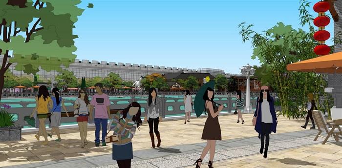 仿古商业街精细景观详细设计su模型