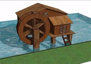 中式木质水车小品SU(草图大师)模型