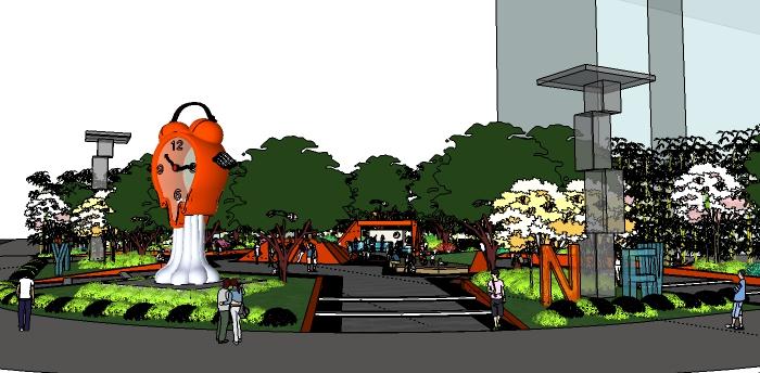 运动主题街头公园及街角运动公园su模型
