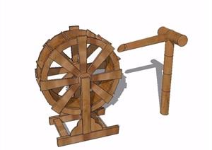 中式水车素材设计SU(草图大师)模型