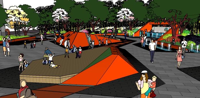街头公园景观详细设计su模型