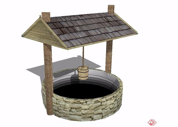 某现代中式风格详细水井素材设计su模型[原创]