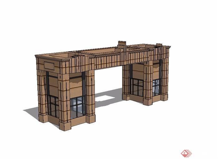 现代大门入口素材设计su模型[原创]