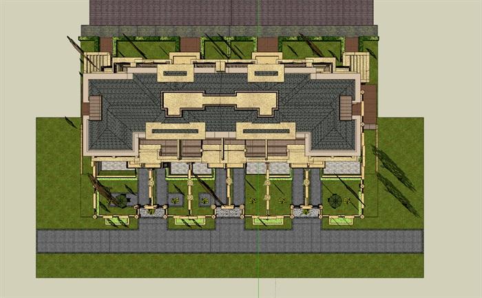 某欧式详细的小区别墅建筑su模型[原创]