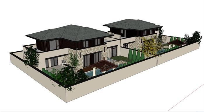 某欧式风格详细别墅建筑设计su模型[原创]