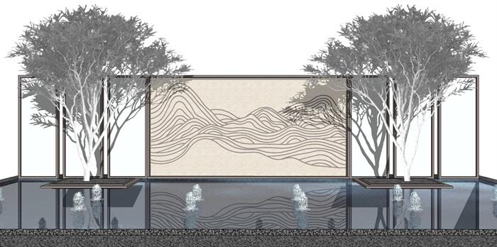 新中式禅意山水景墙素材设计su模型[原创]
