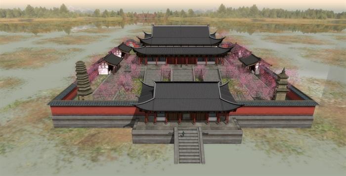 唐代唐风中式大殿斗拱飞檐古建筑宫殿大殿寺院寺庙建筑su模型(1)