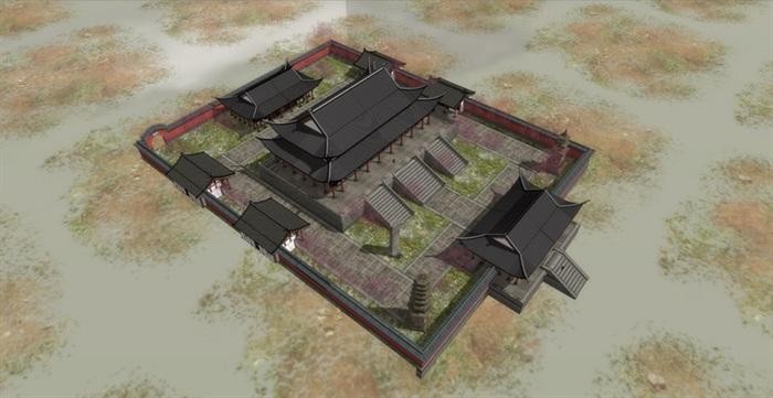 唐代唐风中式大殿斗拱飞檐古建筑宫殿大殿寺院寺庙建筑su模型(2)