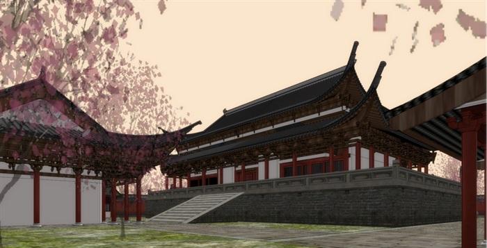 唐代唐风中式大殿斗拱飞檐古建筑宫殿大殿寺院寺庙建筑su模型(3)