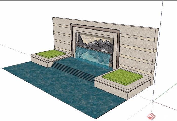新中式禅意水景墙设计su模型[原创]
