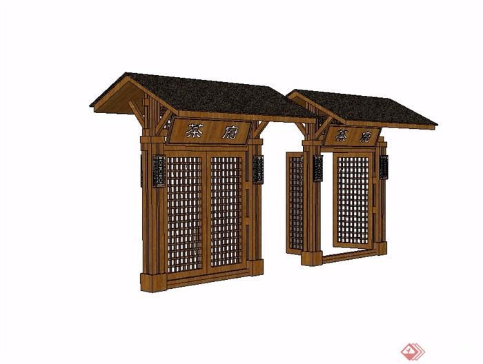 中式木质院门素材设计su模型[原创]