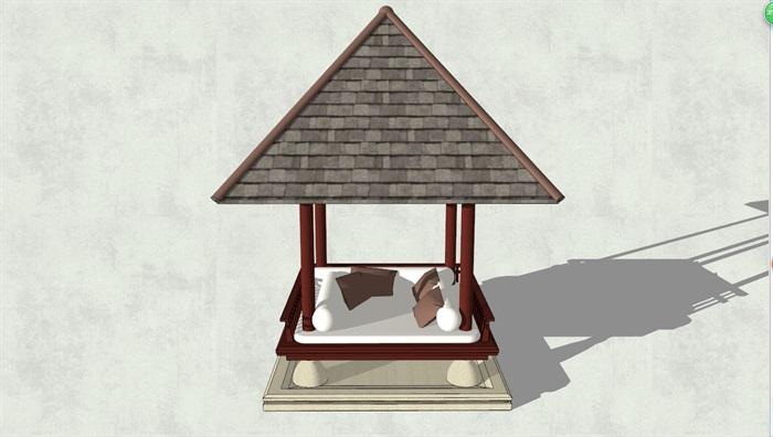 东南亚凉亭素材设计su模型[原创]