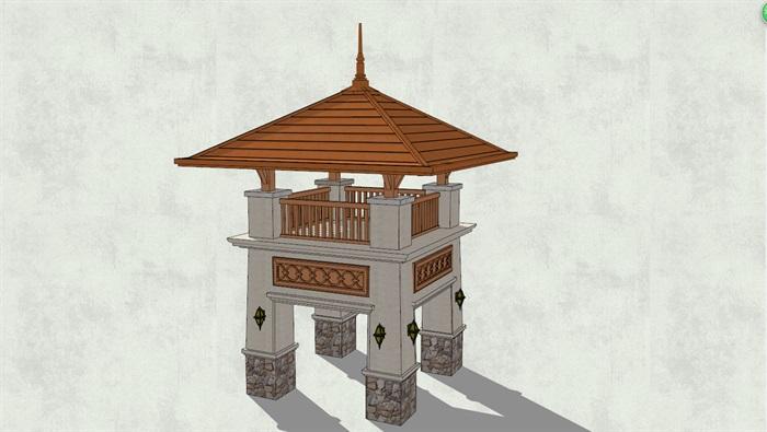 东南亚观景亭子独特详细设计su模型[原创]