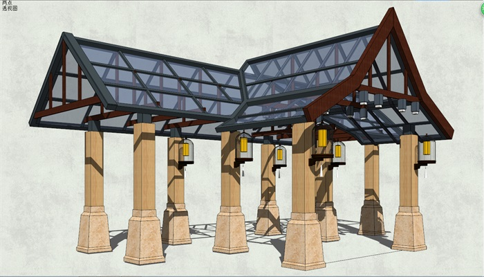 东南亚玻璃亭子素材设计su模型[原创]