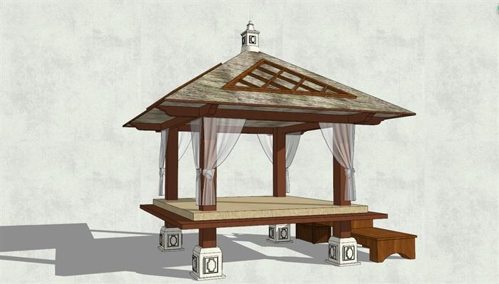 东南亚亭子完整详细设计su模型[原创]