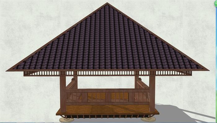 东南亚亭子详细完整设计su模型[原创]